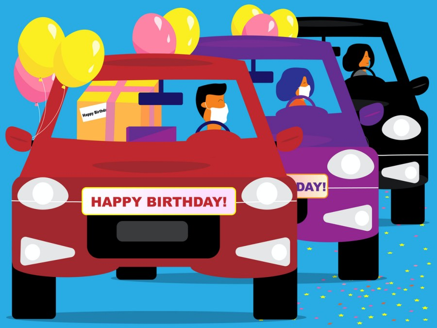 Birthday parade infographic 3 people wearing face masks driving by with balloons gifts and birthday greetings